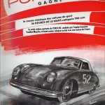 """The classic racing sport cars """"24 HOUR OF LE MANS"""" 1100 ccm category. The only car leading is PORSCHE, led by the French team Veuillet / Flies arriving as conqueror on the finish line with 4 laps ahead of everybody else. PORSCHE STUTTGART ZUFFENHAUSE (Hauling ass!)...!"""